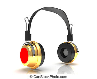 headphones 3D. Icon. Isolated on white background