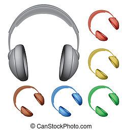 headphones against white background, abstract vector art illustration