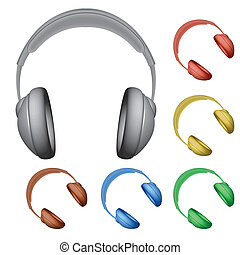 headphones against white background, abstract vector art...
