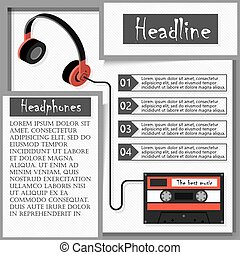 Headphones and audiocassette. Infographics. Vector Illustration