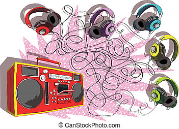 Headphones and Boom-box Maze Game for children. Hand drawn illustration in eps10 vector mode. Task: Which headphone leads to tape recorder? Answer: Violette/purple headphones!