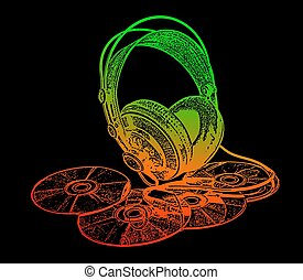 headphones and CD drive stylized in green red on a black background color