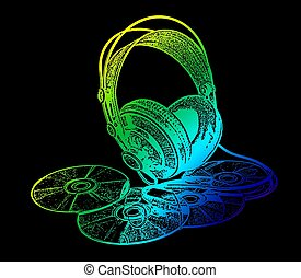 headphones and CD drive stylized in green yellow blue on a black background color