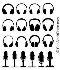 headphones and microphones - Black silhouettes of headphones...