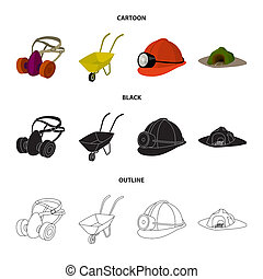 Headphones and raspirator, wheelbarrow, helmet with a lantern, the entrance to the mine. Mining industry set collection icons in cartoon, black, outline style bitmap symbol stock illustration web.