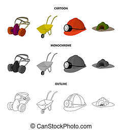 Headphones and raspirator, wheelbarrow, helmet with a lantern, the entrance to the mine. Mining industry set collection icons in cartoon, outline, monochrome style bitmap symbol stock illustration web.