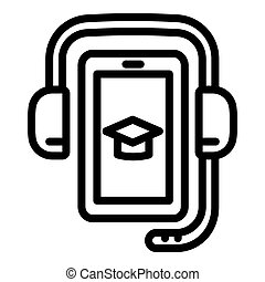 Headphones and smartphone icon, outline style