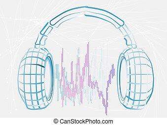headphones and wave