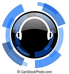 headphones black blue glossy web icon