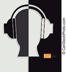 Headphones black - Card with head and headphones silhouette,...