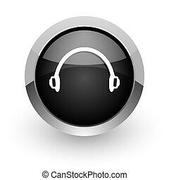 headphones black chrome glossy web icon