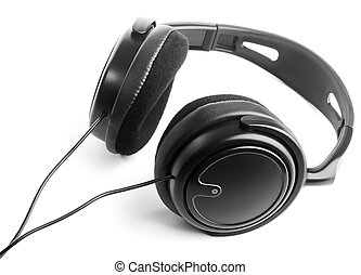 Headphones - Black headphones on white background