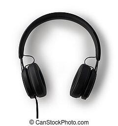 Headphones black isolated on white background.