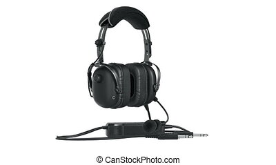Headphones black matt aviation, alpha channel. 3D animation...