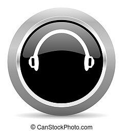 headphones black metallic chrome web circle glossy icon