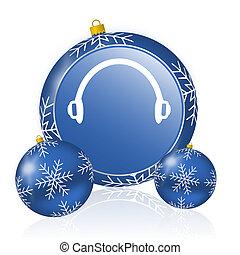 Headphones blue christmas balls icon