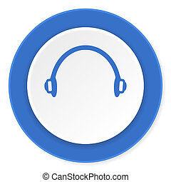 headphones blue circle 3d modern design flat icon on white ...