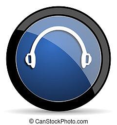 headphones blue circle glossy web icon on white background, ...