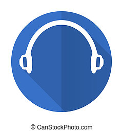 headphones blue flat desgn icon with shadow on white ...