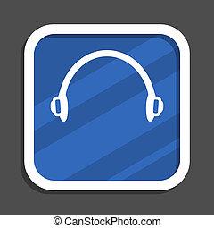 Headphones blue flat design square web icon