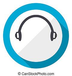 Headphones blue flat design web icon