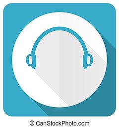 headphones blue flat icon