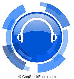 headphones blue glossy circle modern web icon
