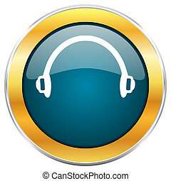 Headphones blue glossy round icon with golden chrome ...