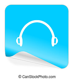 headphones blue sticker icon - blue sticker icon