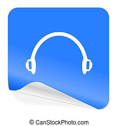 headphones blue sticker icon