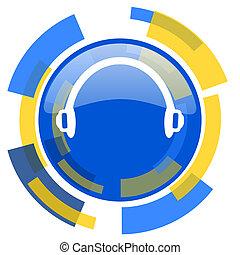 headphones blue yellow glossy web icon
