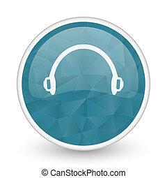 Headphones brillant crystal design round blue web icon.