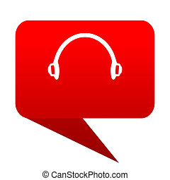headphones bubble red icon