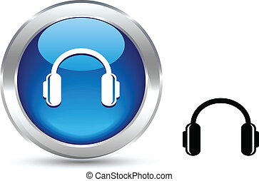 . headphones realistic button. Vector illustration.