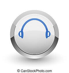 Headphones chrome border web and smartphone apps design ...