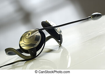 headphones - modern headphones with microphone close up...