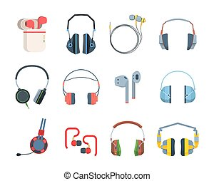 Headphones colored large set. Special gamers streaming stylish modern wireless headset listening audio files and musicportable mobile for smartphones excellent sound quality. Availability vector.
