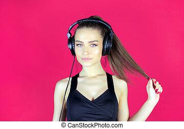 headphones., custodire, capelli, studio, ascolto, sexy, musica, ragazza