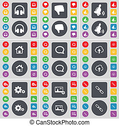 Headphones, Dislike, Bell, House, Chat bubble, Cloud, Gears, Pictures, Link icon symbol. A large set of flat, colored buttons for your design.