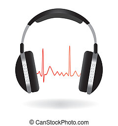 Headphones - Image of headphones isolated on a white...