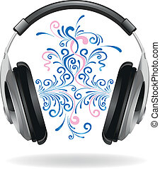 Headphones with a beautiful ornament, symbolizing music