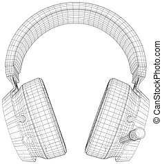 Headphones. EPS10 format. Wire-frame Vector created of 3d