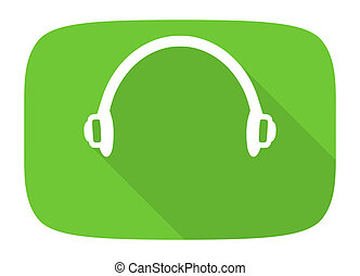 headphones flat design modern icon with long shadow for web ...