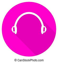 headphones flat pink icon