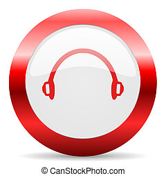 headphones glossy web icon - red white web icon