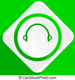 headphones green flat icon