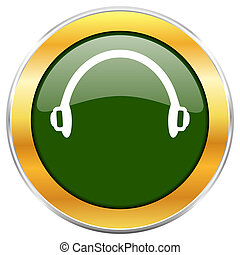 Headphones green glossy round icon with golden chrome ...