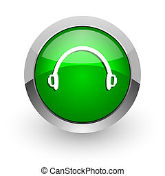 headphones green glossy web icon