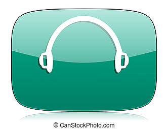 headphones green icon