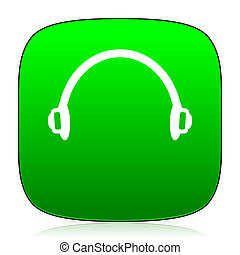 headphones green icon for web and mobile app